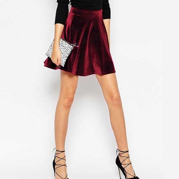 49651e7a6210 Foreign Exchange Dresses   Skirts - Foreign Exchange Burgundy Velvet Skater  Skirt